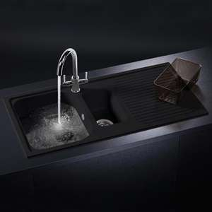 Schock Lithos D150 1.5 Bowl Granite Onyx Black Kitchen Sink for £137.99 delivered @ Taps UK