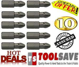 Professional PZ2 Pozi 2 Bits 10 Packs Quality Like Dewalt & Makita for £0.99 delivered@ eBay Toolsave