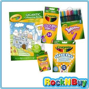 (Crayola) 128 Page Colouring Book,12 Twistables Crayons,24 Bright Strong Colouring Pencils,12 Washable Markers Felt Tips Pens & 8 Assorted Wax Crayons all for £12.49 Delivered @ Ebay RockNbuy