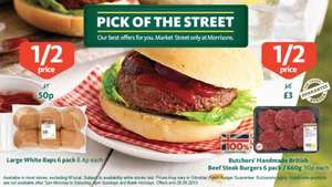 Half Price Butchers' Handmade British Beef Steak Burgers 50p each @ Morrisons (Plus look out in the post for a £3 off £20 spend voucher)