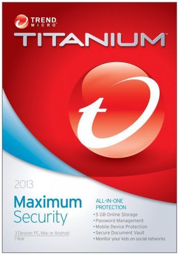 Trend Micro Titanium Maximum Security 2013 1Yr/3PC - £5.50 + 3.29 delivery @ Amazon Warehouse - £8.89