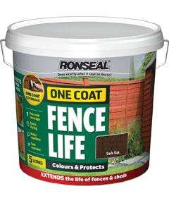Ronseal Fence Coat -  Dark Oak - 9 litres for £5.99 at Home Bargains