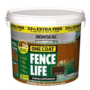Ronseal Fence Life 12 litres £12 plus 3 for 2 = £8. B&Q