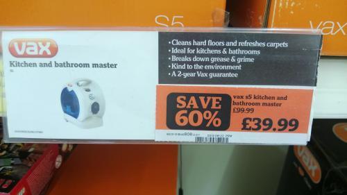 VAX S5 Kitchen & Bathroom Master Steam Cleaner £39.99 @ Sainsbury's Instore