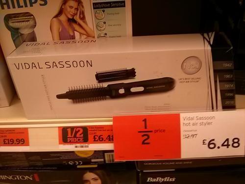 Vidal Sassoon VSHA6471UK Tangle Free Hot Air Styler £6.48 instore at Sainsbury's