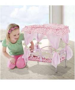Kids Silver Cross Doll's Metal 4 Poster Canopy Bed half price del now £12.50 @ Amazon