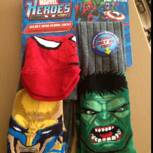 3 pairs marvel hero socks @ 99p stores