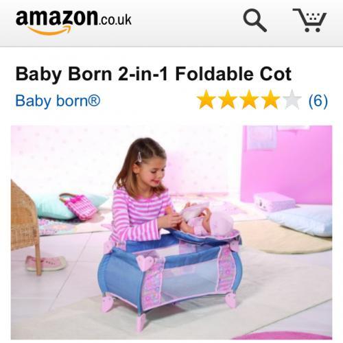 Baby Born 2-in-1 Foldable Cot £23.76 del @ Amazon