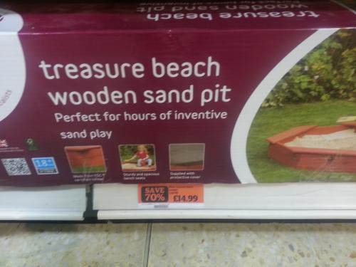 Treasure beach wooden sandpit 70% off instore sainsburys £14.99