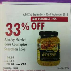 Ainsley Harriot Cous Cous 1.5kg for £3.28 @ Costco