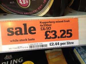 Kopparberg Mixed Fruit 4 bottles 330ml £3.25 at Sainsbury's