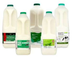 Asda own brand semi skimmed milk 4 pints £1 (making it 60p with Quidco clicksnap 40p cashback)