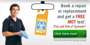 Book a repair or replacement and get a free MOT test at halfords* *till the 16th of september @ Autoglass