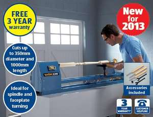 """40"""" Wood Turning Lathe - 400w,magnetic switch,3 piece chisel set - 3 yr warranty - £89.99 - Instore Aldi from Sunday 8th Sept"""