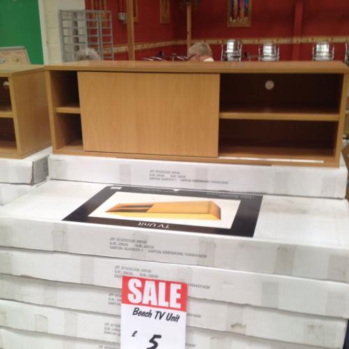 Beech TV stand £5.00 @ JTF Mega Discount Warehouse instore
