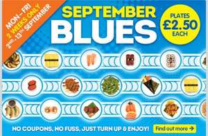 Yo Sushi! September Blues Monday to Friday plates at £2.50