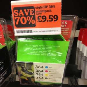 HP 364 ink cartridges - £17.98 for 2 packs @ Sainsburys instore