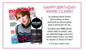 Free Nails Inc nail polish in House of Fraser and Marie Claire