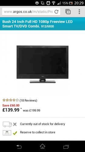 @argos 139.99! Bush 24 Inch Full HD LED Smart TV/DVD Combi
