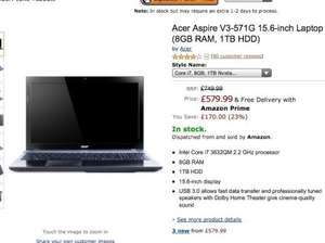 Acer Aspire V3-571G laptop, Intel core i7 8GB ram Dedicated graphics 1tb hard drive Blu ray player £579.99  Amazon