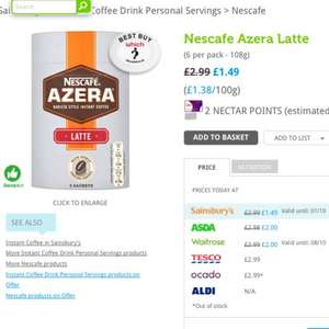 Nescafé Azera latte and cappuccino sachets £1.49 @ sainsburys (50% off)