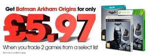 Batman Arkham Origins on PS3/360/Wii U - £5.97 when trading in 2 selected games @ Gamestop