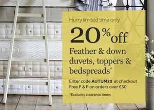 20% off feather & down duvets,toppers and bedspreads plus free postage on orders over £30 @ DAPW