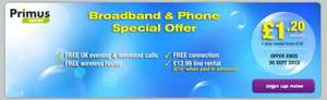 Primus unlimited broadband and linerental with evening and weekend calls