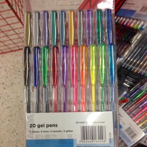 20 Gel Pens for £1.00 @ Asda