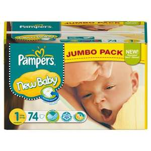 Pampers New Baby Size 1 (Newborn) Jumbo Pack 74 Nappies from £4.44 with S&S (prime) or £5.55 without @ Amazon