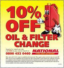 Oil & Filter change at National Tyres & Autocare from £28.80 10% off code = £25.92