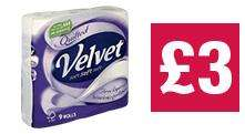 Quilted Velvet 3 ply Toilet Tissue White 9 Roll £3.00 @ Co-op