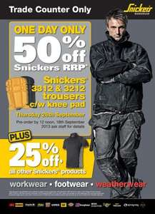 Half price snickers work pants at arco one day event. 25% off all other snickers products.