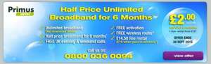 £6.99 land line rental ( free weekend and evening calls ) primussaver