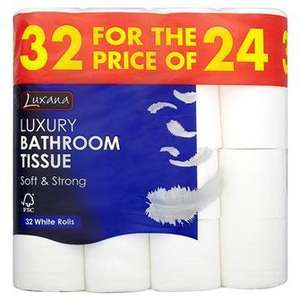 Makro - Luxana Luxury Toilet Roll 32 For 24 White - only 9.59