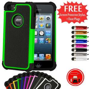 (11 COLOURS) SHOCK PROOF CASE FOR APPLE IPHONE 5 +7 Gifts! £0.99p @ ebay / Doohickey-Hut