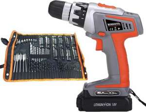 Terratek 18v Li-ion Drill with 150 piece kit £34.99 Sold by Sales Direct Online and Fulfilled by Amazon