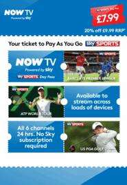NOW TV Sky Sports Pass Download code £7.99 @ GAME