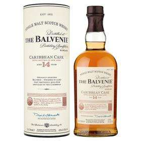 The Balvenie Caribbean Cask Malt Whisky Aged 14 Years, was £41, now £35 @ Asda