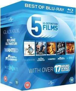 Blu-Ray Starter Pack: Gladiator / The Bourne Ultimatum / Wanted / Fast and Furious / The Mummy: Tomb of the Dragon Emperor Blu-ray - £8.96 @ Zavvi (Use Code DEUT10 )