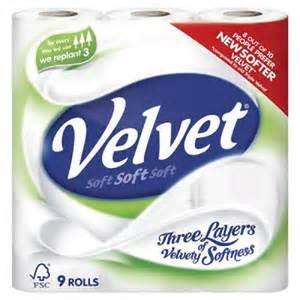 Triple Velvet Toilet Roll 9 Pack £2.44 @ Co-op