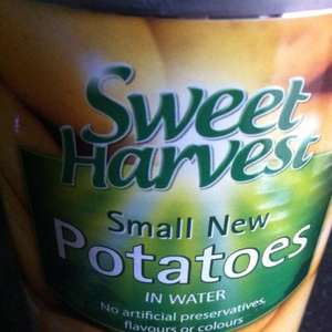 Aldi tinned new potatoes. Large tin, 560g (360g drained). 15p.