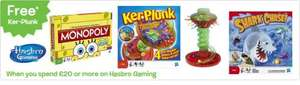 Free Ker Plunk (worth £8.99) when you spend £20 on Hasbro Games @ Toys R Us & Free Delivery & £5 off £30 code.