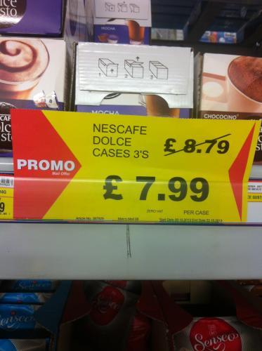 Nescafé Dolce Gusto pods 3 Cases £7.99 @ Makro no VAT