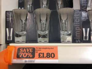 TU 6 pk shot glasses for £1.80 reduced from £6.00 @ Sainsburys