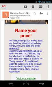 Name your price @ Ramada Gateshead