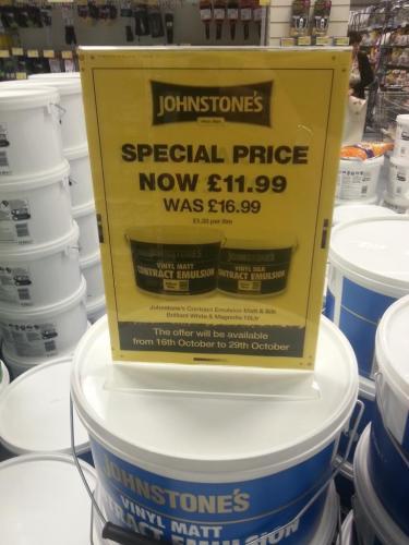 Johnstone's Vinyl Emulsion Paint 10 Litre was £16.99 now £11.99 in B & M