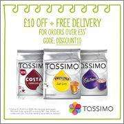 [Expired] Tassimo free delivery on £35 spend plus £10 off using code.