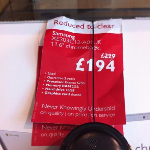 Samsung chrome book - £194 instore @ John Lewis