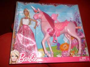 Barbie Fairytale Pink Horse (Unicorn) & Doll Set. Was £29.99 now £14.99 instore @ Sainsburys.